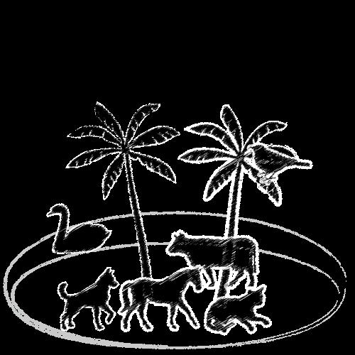 島にいる動物は?