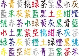 読みと色が一致する漢字は何?